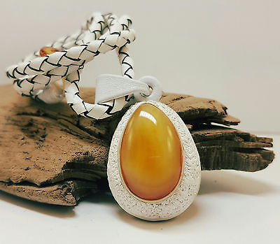 Pendant Natural Baltic Amber Stone 16,1g Butterscotch Real Leather White A-421