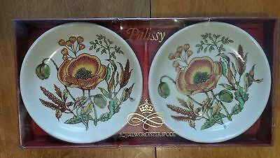 2 Royal Worcester Palissy dishes in box beauty colored florals set