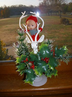 Vintage Japan Plastic Centerpiece Holly & Berry Pinecone Reindeer & Elf