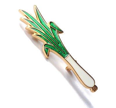 Welsh Leek Metal Enameled Badge Brooch