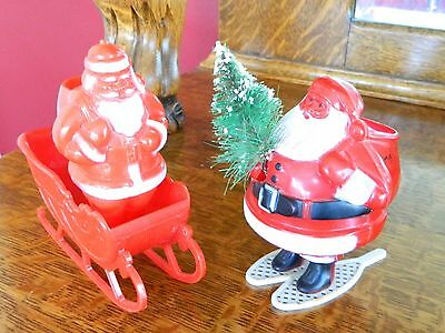 2 Vintage Plastic SANTA Snow Shoes Candy Container Brush Tree Sleigh Christmas