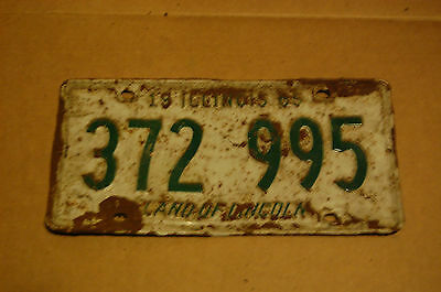 Illinois 1965 License Plate 372995 White and Green