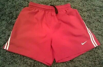 Nike TEAM FitDry Soccer Running Shorts Boys Youth Girls Kids Large L Red EUC