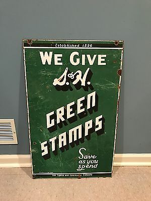 Vintage Porcelain S&H Green Stamps Sign - 2 sided advertising country store