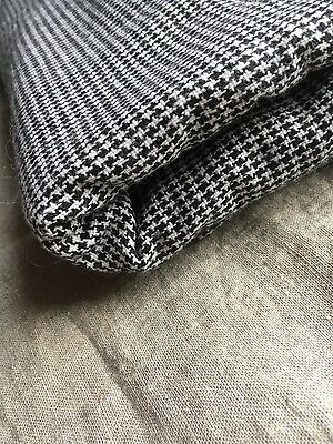 Vintage black and white hounds tooth Wool Fabric. 3+yards houndstooth wool blend