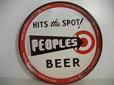 "Rare Vintage Peoples Beer Tray 12"" Metal Tin ""hits The Spot!"""