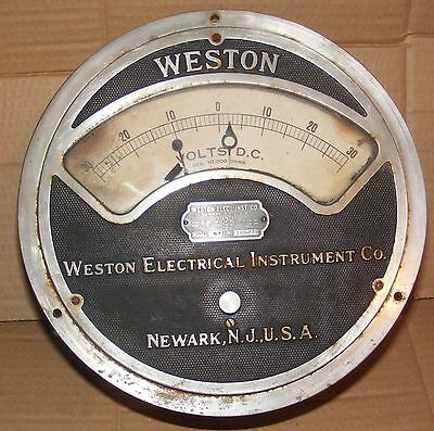 "ANTIQUE model 57 HUGE  9 1/2"" Weston Electric Instr.METER VOLTS  RES 10.000 OHMS"