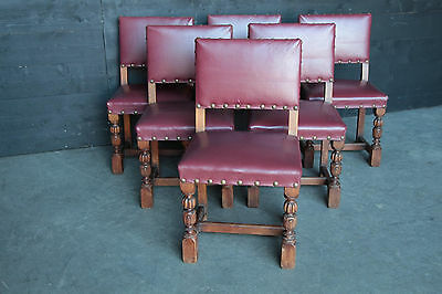 Antique French Tudor Dining Chairs Solid Oak Circa 1920s