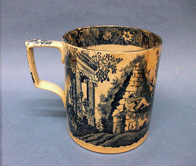 A Staffordshire Blue and White Transfer Printed Tankard, c.1820