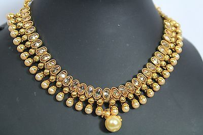 Bollywood Style Ethnic Indian Gold Plated Pearl Jewellery Necklace Earrings 190