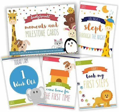 LovelySprouts Moments & Milestone Baby Cards | Set of 35 Photo Cards in a Box |