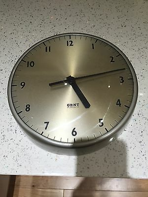 Vintage 1960s retro GENT of Leicester Industrial aluminium Electric Wall Clock