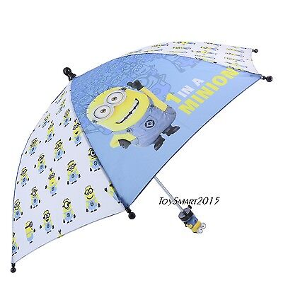 "Minions Boys And Girls 21"" Umbrella With 3D Handle - Blue & White"