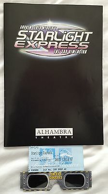 STARLIGHT EXPRESS at the Bradford Alhambra 2007 Programme, Ticket & 3D Glasses.