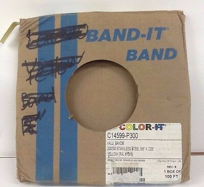 """BAND-IT C14599-P300 Valu-Strap 200/300 Stainless Steel 5/8""""X .025, Yellow# 100ft"""
