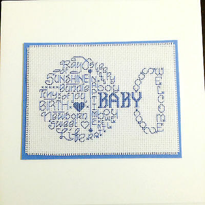 "Completed Cross Stitch Card Large 8 x 8"" Rattle Word Cloud Baby Boy  Handmade"