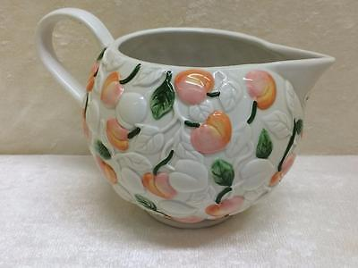 Vintage Claire Burke Pottery Ceramic Pitcher Embossed Hand Painted Peaches