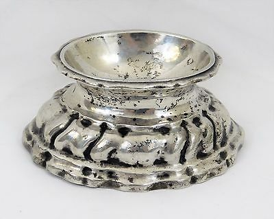 Antique 18C English ~Sterling Silver~ Open Salt Cellar Trencher Ornate