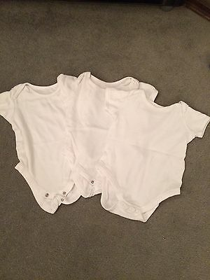 Baby Short Sleeved White Vests 6-9 Months