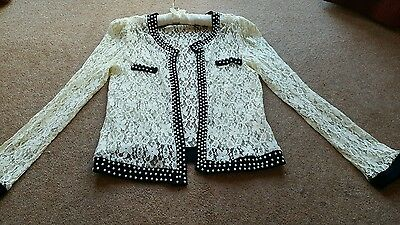 Vintage style lace and pearl jacket blazer