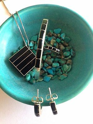Zuni Signed Sterling Set Inlaid ONYX Bracelet,Earrings,Ring,Pendant Necklace LOT
