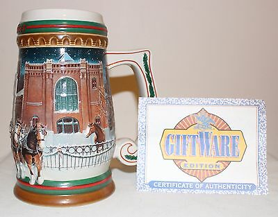 1997 Budweiser Christmas Beer Stein Home for the Holidays Holiday Stein CS313