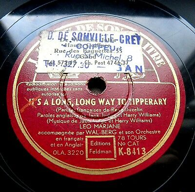 1336/ IT´S A LONG WAY TO TIPPERARY-Leo Marjane -Bonjour Tommy! -Schellack