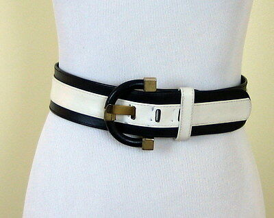Vintage MOD navy & white wide leather belt huge chunky buckle Carlisle small