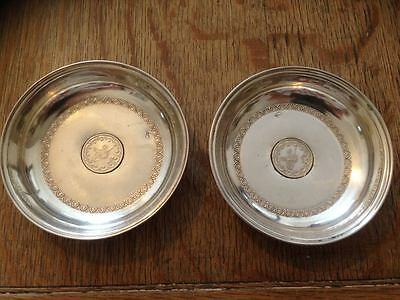 Vintage Turkish Solid Silver Pin Trays/Tughra dishes/coasters