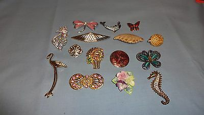 Job Lot / Collection Of 15 Ladies Costume Jewellery Brooches - Lot 7