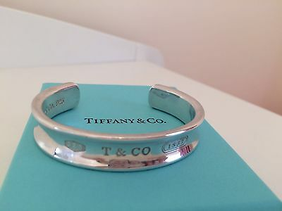 Genuine Tiffany 1837 Sterling Silver Cuff Bracelet Bangle In Box, Pouch And Bag