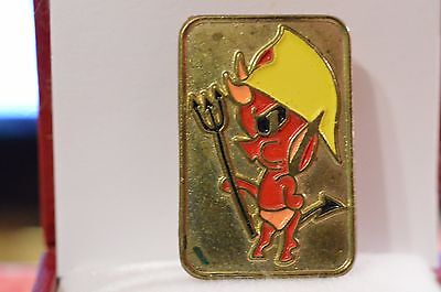 Vintage Red Devil Fireman Hat Enamel Lapel Pin Badge