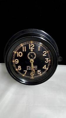 Vintage US Navy Chelsea Ships Clock 1942 Model 24819 With Key
