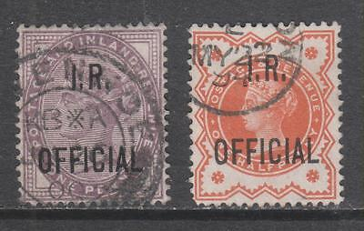 GB - 1882/88 I.R. Official Opts - QV Stamps.  1d. Lilac & 1/2d. Orange, Used