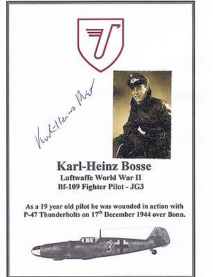 SIGNED WWII Veteran Bookplate/Card: Luftwaffe Bf-109 Fighter Pilot Bosse
