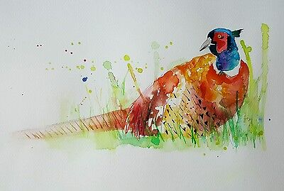 "ELLE SMITH ART. ORIGINAL RARE WATERCOLOUR PAINTING 16x12"" ""PHEASANT """