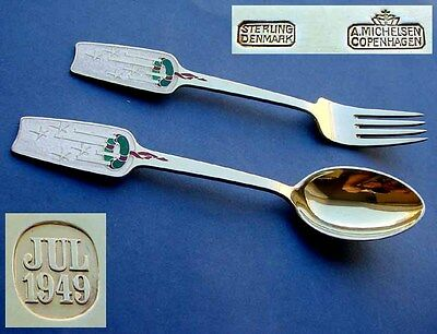 Year's flatware, A. Michelsen, 925 Silber, Enamel, gold plated, year 1949 D837
