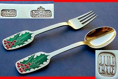 Year's flatware, A. Michelsen, 925 Silber, Enamel, gold plated, year 1946 D843