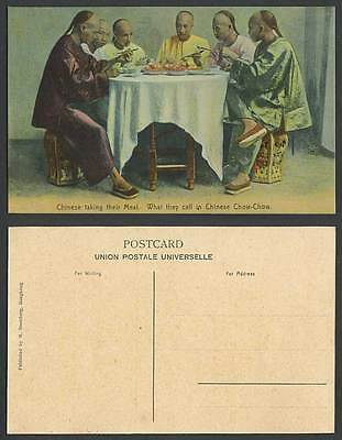 Hong Kong China Old Postcard Chinese Taking Their Meal Food Chopsticks Chow-Chow