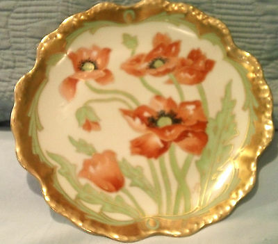 """Antique Hand-Painted Artist-Signed Limoges P&B Elite-L-France POPPIES 8"""" Plate"""