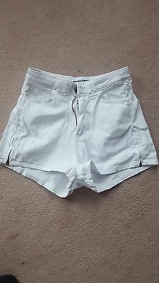 American Apparel NEW Stretch twill white high waisted shorts size 26/27