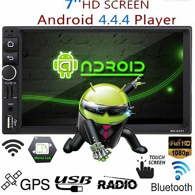 "Universal 2 DIN 7"" Quad-Core Android 4.4 Car Stereo GPS Sat Nav/WiFi Player UK"