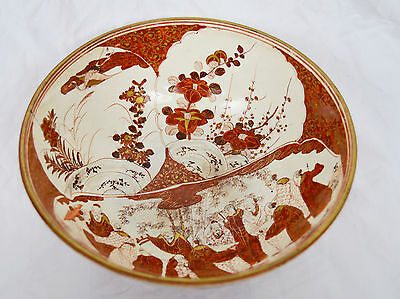 """Antique Signed 9"""" Japan Hand Painted Satsuma Bowl Figural Cherry Blossom 19th"""