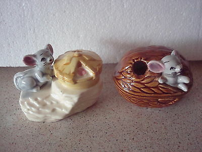 2 Vintage/Retro Mice Figures in a pie & nut H.C.F. London Toothpick holders