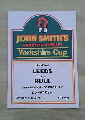 Vintage Leeds V Hull Yorkshire Cup Rugby League Programme. 5 Oct 1988.