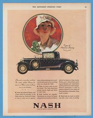 1928 Nash Coupe American Beauty AWESOME antique automobile motor car art ad