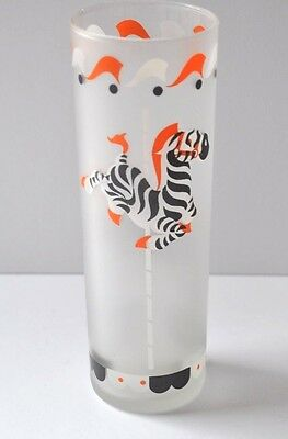 Vintage Libbey Frosted Glass Carousel Zebra with Orange