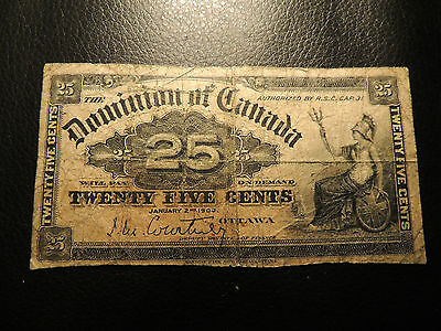 1900 DOMINION OF CANADA 0.25 CENTS PAPER MONEY COURTNEY SHINPLASTER DC-15a