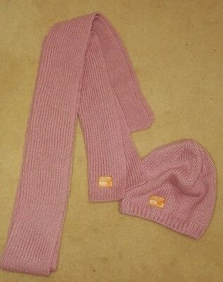 Superdry Beanie Hat and Scarf Set Pink