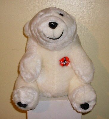 "10"" Coca Cola Polar Bear Plush with Emblem on Chest 1997"